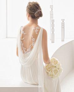 Nadine traje de novia en muselina de seda.