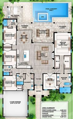 single- story 4 split bedrooms study 4 bath attached garage covered o Sims House Plans, House Layout Plans, House Plans One Story, Craftsman House Plans, Best House Plans, Dream House Plans, House Layouts, Dream Houses, Sims 4 Houses Layout