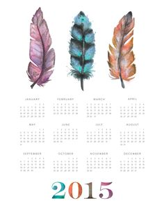 Feather Calendar 2015 by The Blog Guidebook - enter now to win a free download!