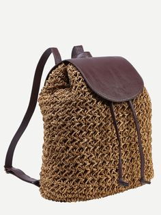 To find out about the Khaki Drawstring Flap Straw Backpack at SHEIN, part of our latest Backpack ready to shop online today! Crochet Baby Boots, Diy Bags Purses, Red Backpack, Diy Tote Bag, Macrame Bag, Pixie Cuts, Summer Bags, Knitted Bags, Cloth Bags