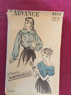 1940 Advance Pattern Blouse Size 16 Bust 34#4614