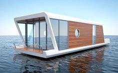 The Boathouse: a new definition to lakefront living! Houseboat Living, Houseboat Ideas, Floating Architecture, Shanty Boat, Lakefront Property, Boat Interior, Tiny House Cabin, Beach Bungalows, Floating House