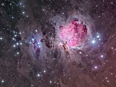 M42 Great Orion Nebula Image contains Great Nebula in Orion, M 43, NGC 1982, NGC 1977, NGC 1980, M 42, NGC 1976, NGC 1975, NGC 1981, NGC 1973, 45Ori, ιOri, θ2Ori, θ1Ori, 42Ori  The Orion Nebula is a diffuse nebula situated south of Orion's Belt in the constellation of Orion. It is one of the brightest nebulae and is visible to the naked eye in the night sky. M42 is located at a distance of 1,344 light years and is the closest region of massive star formation to Earth.