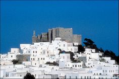 Historic Centre (Chorá) with the Monastery of Saint John. The small island of Patmos is reputed to be where St John the Theologian wrote both his Gospel and the Apocalypse. Greece.
