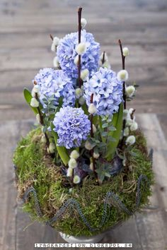 Hyacinth, beautiful spring arrangement! I've got to get my hands on some bulbs!