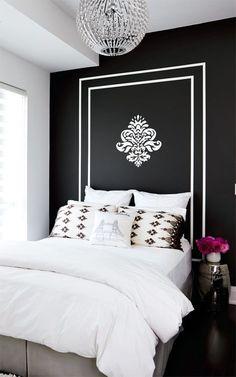 Ideia para uma cabeceira de cama sem ocupar volume no quarto.