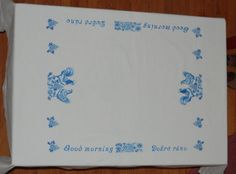 Bilingual Breakfast in Blue Tablecloth by embrant on Etsy, $120.00
