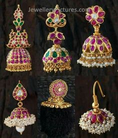 Six Awesome designs of Ruby jhumkas made with real rubies ,emeralds and flat diamonds. cute jumka designs will steal the hearts for sure. Very traditional looking earrings specially designed for south indian women. Ruby Jewelry, India Jewelry, Jewelry Findings, Jewelery, Gold Jewelry, Jhumka Designs, Gold Earrings Designs, Indian Jewellery Design, Jewelry Design