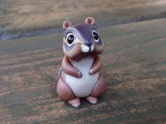 Chipmunk: Handmade miniature polymer clay animal by AnimalitoClay