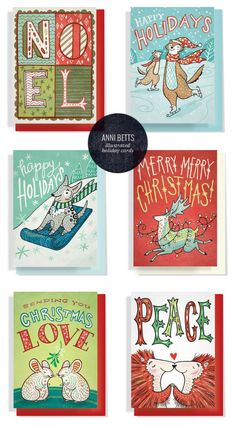 Hand Lettered, Illustrated Christmas Cards   Anni Betts