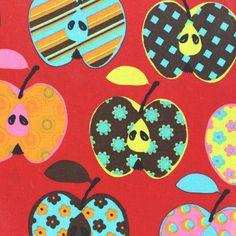 Tissu enduit coton Beautiful Apples rouge x 10cm