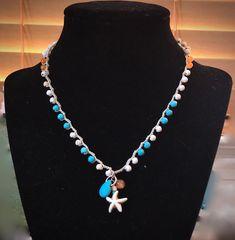 Crochet Starfish Necklace, Howlite Bead Crochet Necklace, Sea Star Necklace, Beach Jewelry, Beaded Necklace, Crochet Necklace, Gifts