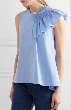 Sky-blue cotton-blend Concealed asymmetric zip fastening along back cotton, other fibers Dry clean Made in Italy Fashion Details, Fashion Design, Clothes Crafts, African Wear, Wide Leg Jeans, Corsage, Blue Tops, Blouse Designs, Summer Outfits