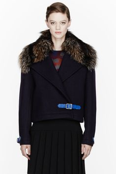 CHRISTOPHER KANE Blue Navy Wool And Fur Cropped Great Coat - Lyst