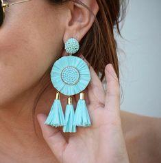 Large earrings are the newest fashion accessory trend in 2019 Sky blue flower earrings, large earrings, tassel earrings Diy Earrings, Teardrop Earrings, Statement Earrings, Earrings Handmade, Flower Earrings, Wedding Earrings Drop, Bridesmaid Earrings, Bridal Earrings, Tassel Jewelry