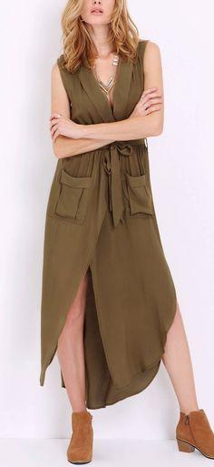 Army Green. Feeling fierce in this sleeveless dress.