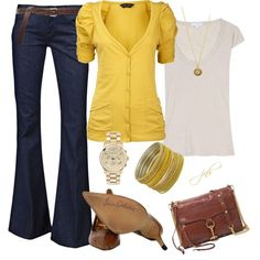 Yellow Cardi Love, created by jill-hammel on Polyvore