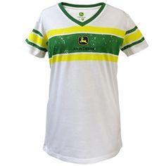 Women's White John Deere V-neck Jersey look T-shirts | WeGotGreen.com