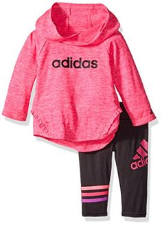 Adidas Girls' Melange Hooded Set, Shock Pink Heather, 9 Months * Additional info…