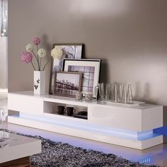Evoque White High gloss TV Unit with Lower Lighting