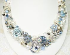 Something Blue Statement Necklace- Light Blue Bridal Bib Necklace- Pearl Vintage Wedding Jewelry with flower cameo. $125.00, via Etsy.