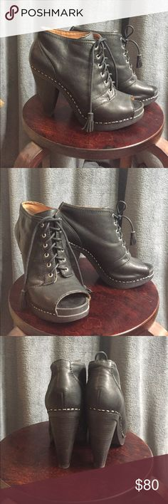 """Leather heels These are a 4"""" leather heels. They are super cute, and have only been worn once. Lucky Brand Shoes Ankle Boots & Booties"""