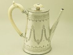 A fine and impressive antique Victorian English sterling silver and ivory handled coffee pot; an addition to our silver teaware collection  SKU: W8821 Price    GBP £1,195.00 http://www.acsilver.co.uk/shop/pc/Sterling-Silver-Coffee-Pot-Antique-Victorian-p6031.htm