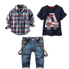 2016 Spring New Children Clothing Gentleman Plaid kids casual boys clothing sets T Shirt + Suspender Trousers 3 pcs Sports sets-in Clothing Sets from Mother & Kids on Aliexpress.com | Alibaba Group
