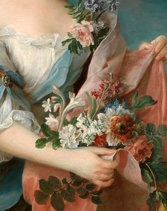 François-Hubert Drouais ~ Portrait of an Elegant Lady (detail) #Rococo #French