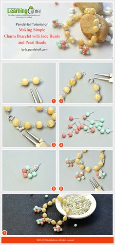 PandaHall Tutorial on Making Simple Charm Bracelet with Jade Beads and Pearl Beads