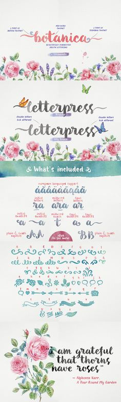 Botanica Brush Font Family // Botanica Brush is a new brush written font family with inky texture, that was inspired by modern trends in brush lettering. The fonts look good, both together and separately and possibilities are only limited by your imagination!