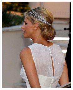 HSH Princess Charlene wearing the Diamond Foam Tiara on the eve of her religious wedding.
