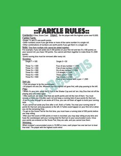 PDF instant download farkle rules farkle yard by WittDesigns