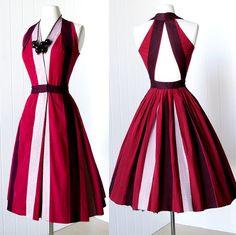 Colorful halter. vintage 1940's dress rare early designer JOSET WALKER by traven7, $360.00