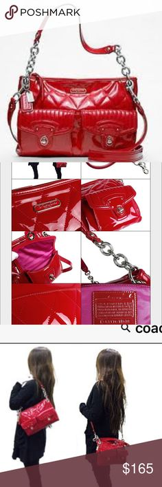 """Coach Red Patent Poppy Handbag Coach Poppy Liquid Gloss Hippie Red Patent Handbag 18678. Cherry Diamond & channel quilting combine with the opulent look of lacquer in a witty contrast of uptown & downtown on a versatile crossbody style.The double flap pockets & iconic oval turn locks are Heritage design elements borrowed from the Coach archives.Patent leather material.Inside zip, cell phone & multifunction pockets. Zip-top closure. Fabric lining. Strap 8 1/2"""" drop. Longer strap for…"""