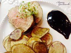 Black Garlic Pork Tenderloin with Purple Chips