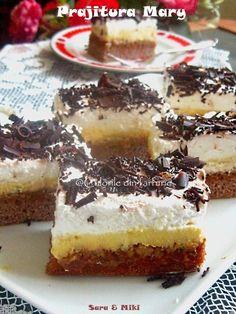 » Prajitura MaryCulorile din Farfurie Romanian Desserts, Food Cakes, Sorbet, Tiramisu, Cake Recipes, Sweet Treats, Cheesecake, Food And Drink, Mary