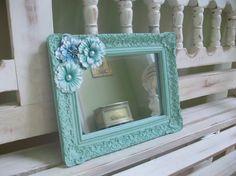 Shabby Chic Mirror Frame Sea Glass Green 5x7