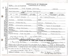 Marriage certificate for Levi Anderson and Hazel Underwood.