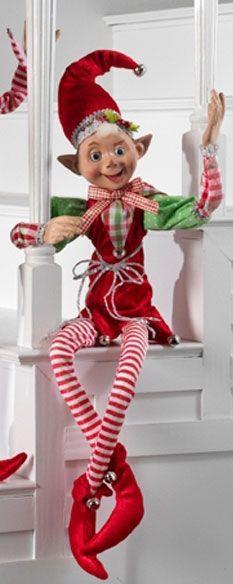 """RAZ 30"""" Posable Elf w/ Lime & White Polka Dot Sleeves"""