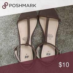 Brown Sandals Adjustable straps on the ankle H&M Shoes Sandals