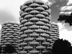 Les Choux de Créteil (The Cabbages) located in Créteil, France is a residential complex comprised of a series of round towers, each with 15 floors, designed by Gérard Grandval in the Photo: G. Round Tower, Residential Complex, Architecture, Cabbages, Towers, Floors, France, 1960s, Vintage