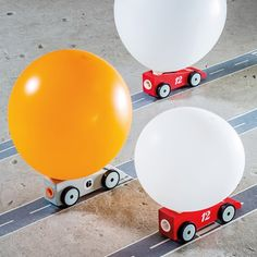 These little red racers are perfect for developing hand eye coordination and a fun way of teaching children the rules of physics. Why does the car race forward when the balloon is inflated? Watch them learn. Balloon Race, The Balloon, Cadillac, Mafia, Latex, Design3000, Innovation, Automobile, Manipulation