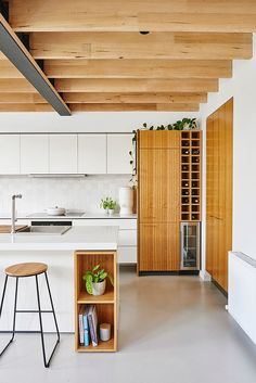 14 Reasons to Consider Dreamy Concrete Kitchen Floors - concrete kitchen flooring and exposed wood ceiling beams - Concrete Kitchen Floor, Concrete Floors, Kitchen Flooring, Kitchen Countertops, Hardwood Floors, Plywood Floors, Concrete Lamp, Stained Concrete, Concrete Countertops