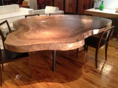 Organic Solid Slab of Suar Wood Dining Table by Chista: $1,599