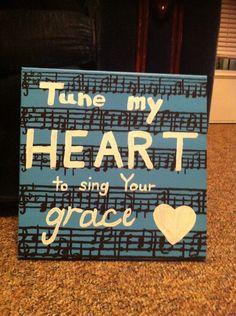 Painting hymn lyrics on canvas
