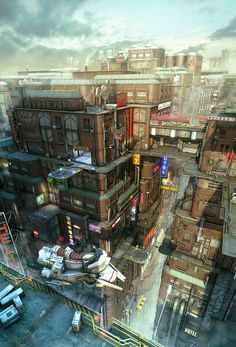 39 Ideas Science Fiction Cyberpunk Cityscapes For 2019 Cyberpunk City, Ville Cyberpunk, Futuristic City, Kowloon Walled City, Sci Fi Stadt, Design Spartan, Science Fiction Kunst, Arte Sci Fi, Sci Fi City