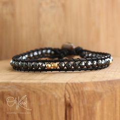 Black Leather Wrap Bracelet - Black Hematite, Gold and Silver Pyrite - Rebellious, Single Wrap Bracelet via Etsy