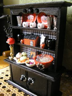 OOAK Miniature Dollhouse Kitchen or Dining Room Halloween Display Cabinet