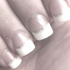 French manicure with silver line for elegance